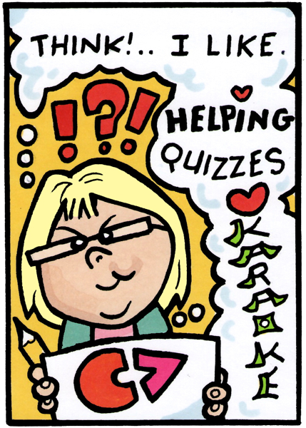 LESLEY thinks about what she likes: helping people, quizzes and karaoke.