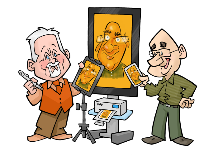 digital caricature set up