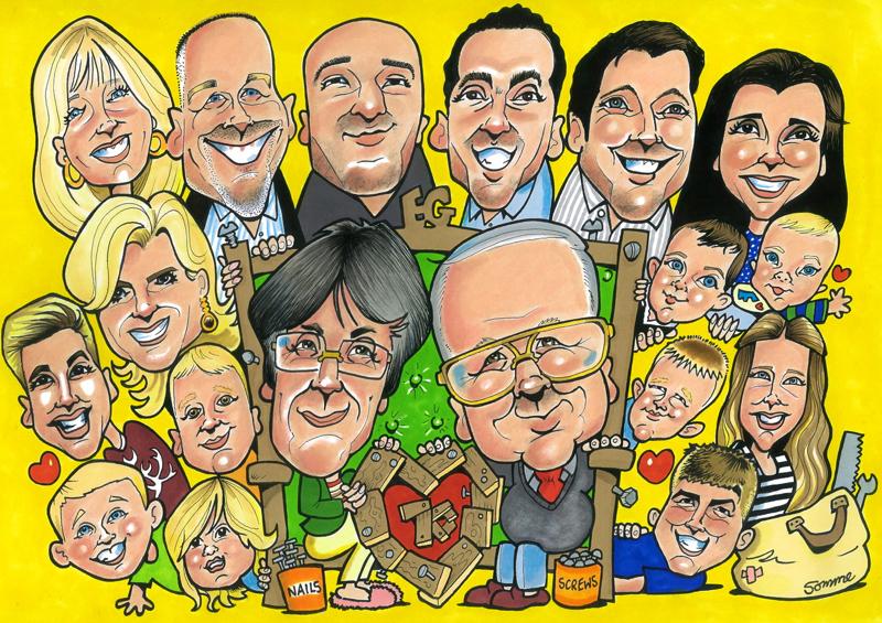 Family Group 7 Scottish Cartoon Art Studio Glasgow Est1999