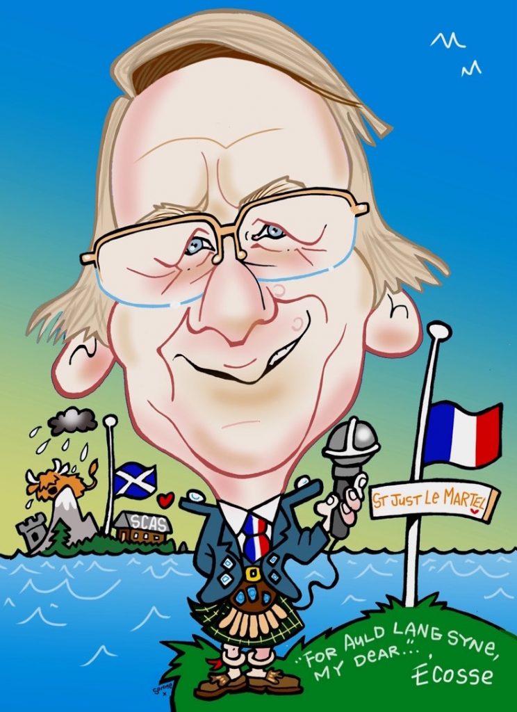 Caricature of Gérard Vandenbroucke, former mayor of Saint-Juts-le-Martel, France, founder & president of the Salon International de la Caricature, du Dessin de Presse et d'Humour, by Tommy Sommerville