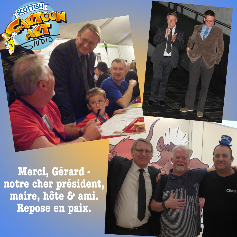 Images of Gérard Vandenbroucke, former mayor of Saint-Juts-le-Martel, France, founder & president of the Salon International de la Caricature, du Dessin de Presse et d'Humour.